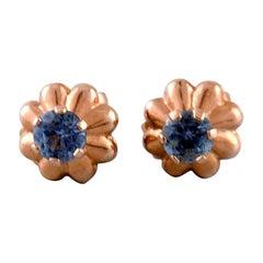Danish 14 Karat Gold Ear Studs with Blue Stones, Mid-1900s