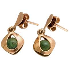 Danish 14 Karat Gold Ear Studs with Green Stones, Mid-1900s