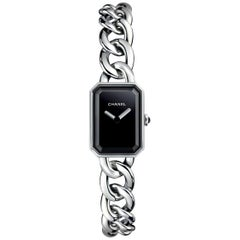 Chanel Première Chain Watch Small Version, Steel, Black-Lacquered Dial