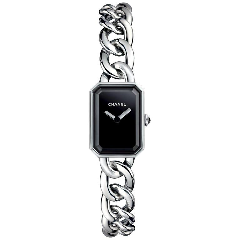 Chanel Première Chain Watch Small Version, Steel, Black-Lacquered Dial For Sale