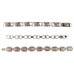 Modern Danish Design, Three Bracelets in Silver, Stamped 830S