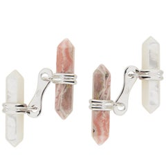 Jona Rhodochrosite and Mother of Pearl Bar Sterling Silver Cufflinks