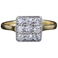 Art Deco Diamond Cluster Engagement Ring 18 Carat Gold Platinum, circa 1920
