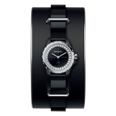 Chanel J12 XS Watch Small Black Leather Cuff, Black Ceramic and Steel Brilliant