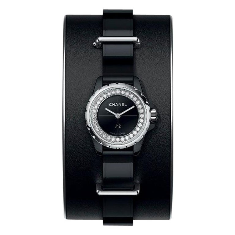 Chanel J12 XS Watch Small Black Leather Cuff, Black Ceramic and Steel Brilliant For Sale