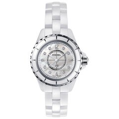 Chanel J12 Watch White Ceramic and Steel, Diamond, White Mother-of-pearl Dial