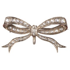 Antique Edwardian Rose Cut Diamond Bow Brooch 18 Carat Gold circa 1910 Boxed