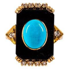 Art Deco Turquoise Onyx 0.18 Carat White Diamond Yellow Gold Cocktail Ring