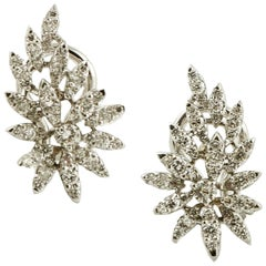 1.39 Carat Little White Diamonds, 18 Karat Gold, Leaves Theme, Earrings