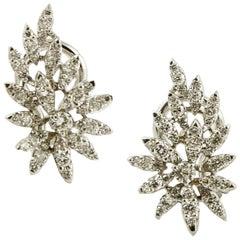 1.39 Carat Little White Diamonds, 18 Karat Gold, Leaves Theme, Earrings