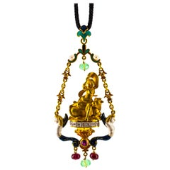 4.27 Carat White Diamond Ruby Emerald Pearl Yellow Gold Myth of Europa Necklace