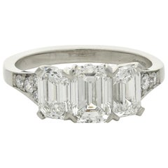 Hancocks Elegant Emerald-Cut Diamond Three-Stone Platinum Ring
