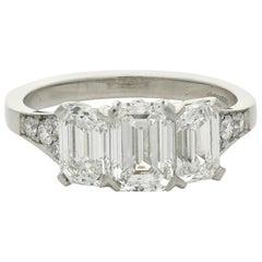 Hancocks Elegant Emerald-Cut Diamond Three-Stone Platinum Ring