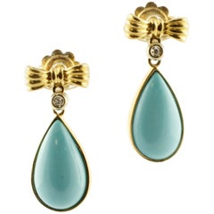 2.50 G Turquoise Drops White Diamonds Yellow Gold Bow Theme Drop Earrings