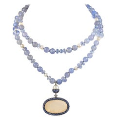 JAR 18 Karat Rose Gold Sapphire, Chalcedony, and Diamond Necklace