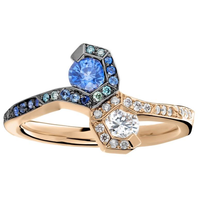Joke Quick 18K Rose Gold Sapphire and Diamond Toi et Moi ring For Sale