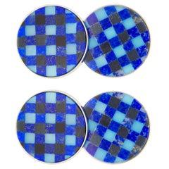 Jona Lapis Lazuli Onyx Chalcedony Checks Sterling Silver Cufflinks