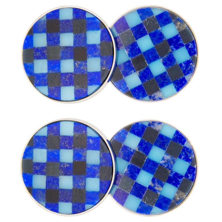 Jona Lapis Lazuli Onyx Chalcedony Checks Sterling Silver Cufflinks For Sale