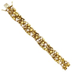 18 Karat Gold and Pearl Wide Bracelet