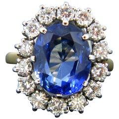 Vintage Certified Ceylon Sapphire Diamond Cluster Gold Platinum Ring