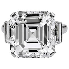 1960s 11.38 Carat Emerald-Cut Diamond Platinum Ring