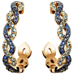 Joke Quick 18K Rose Gold Sapphire & Upside Down Blue Diamond Pave hoop Earrings