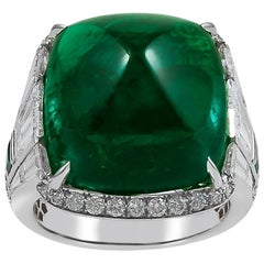 19.82 Carat Sugarloaf Colombian Emerald Diamond Ring