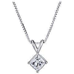 GIA Certified 1/2 Carat Cushion Cut Platinum Pendant