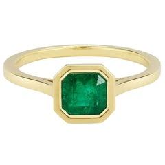 18 Karat Emerald Engagement Ring