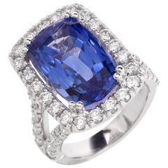 15.80 Carat Blue Sapphire Diamond Cocktail Ring