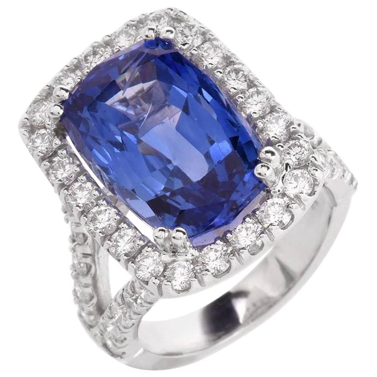 15.80 Carat Blue Sapphire Diamond Cocktail Ring For Sale