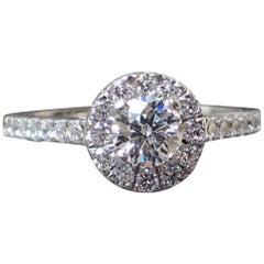 18 Karat Gold 0.83 Karat Verlobungsring GIA. H SI1 Runde brillant geschliffenen Diamanten