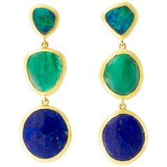 Boulder Opal, Emerald and Lapis Earrings
