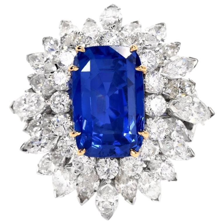 Floral 13.65 Carat Burma Sapphire Diamond Platinum Cluster Cocktail Ring For Sale