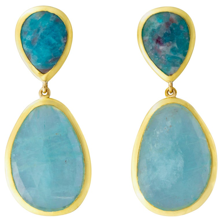 Paraiba Tourmaline And Aquamarine Earrings For Sale At 1stdibs