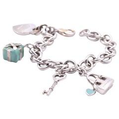 Tiffany & Co. Sterling Silver and Enamel Return to Tiffany Charm Bracelet