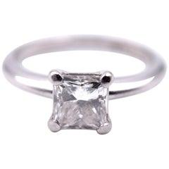 1.00 Carat Princess Cut Platinum Diamond Engagement Ring