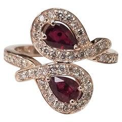 14 Karat Rose Gold Ruby and Diamond Ring