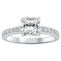 Tiffany & Co. Cushion Diamond Platinum Engagement Ring and Wedding Band Set