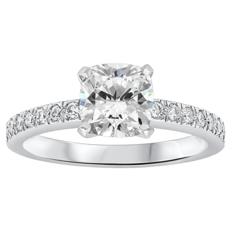 ae4969a78 Tiffany & Co. Cushion Diamond Platinum Engagement Ring and Wedding Band Set  For Sale