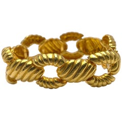 Zolotas 22 Karat Yellow Gold Handcrafted Ribbed Oval Links Bracelet