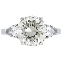 GIA 4.01 Carat Round Brilliant Diamond Engagement Ring