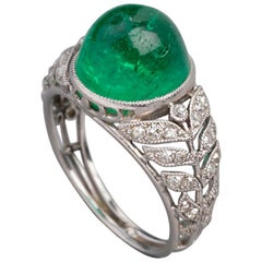 Antique French Colombian Emerald Ring, Platinum and Diamonds
