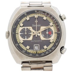 Vintage Zodiac 2-Register Chronograph in Stainless Steel, 1970s