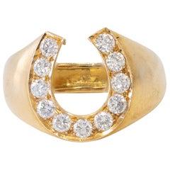 18 Karat Yellow Gold Horse Shoe Ring with Diamonds