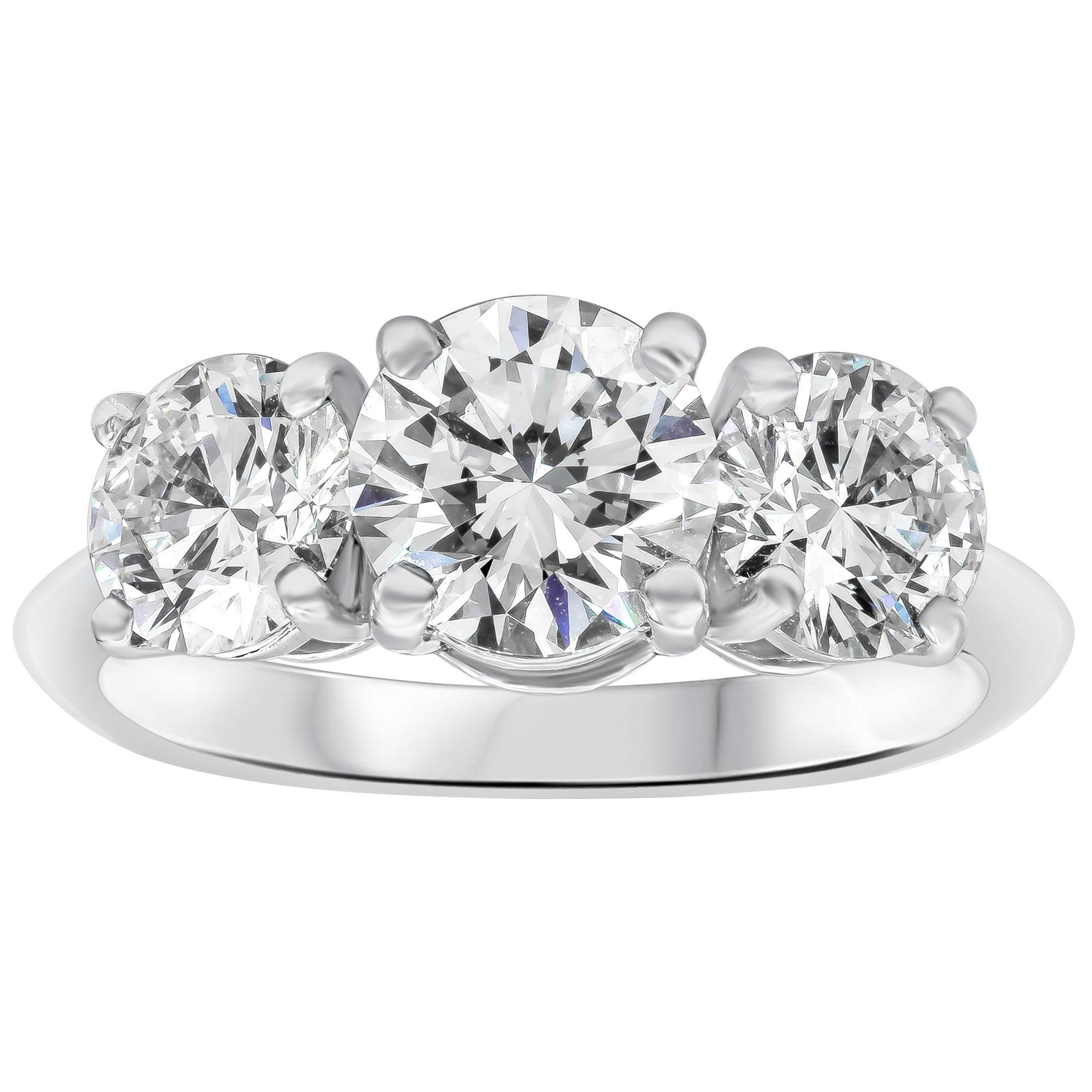 Tiffany & Co. Three-Stone Diamond GIA Certified Platinum Engagement Ring