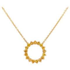 Modern Gold 1 Carat Natural Fancy Deep Yellow Round Diamond Canary Pendant