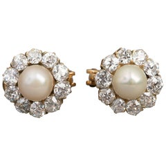 Belle Époque Earrings, Diamonds and Pearls