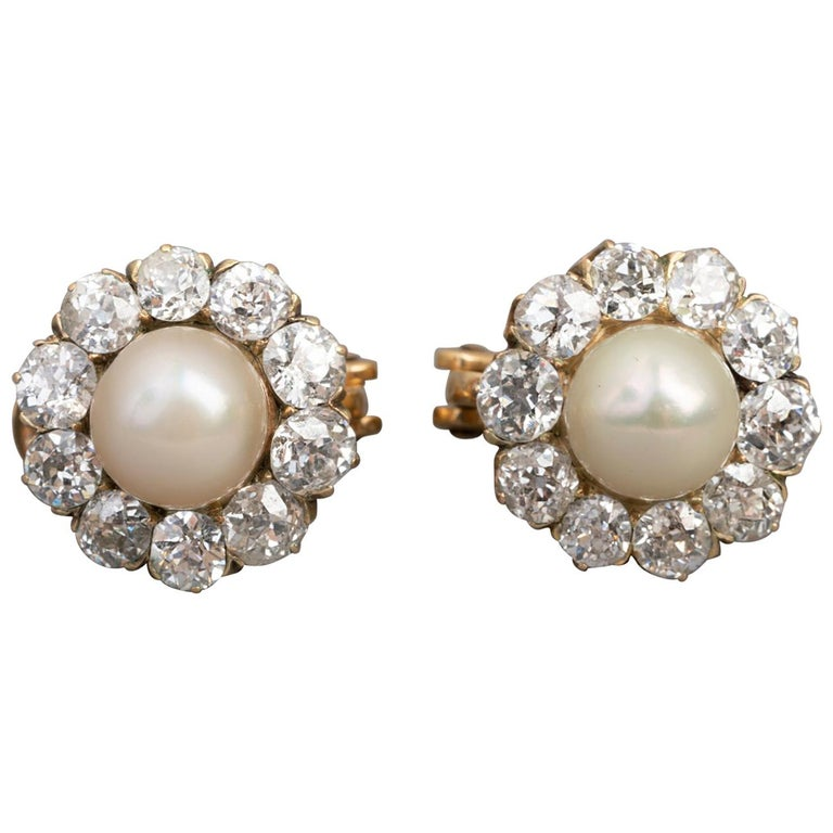 Belle Époque Earrings, Diamonds and Pearls For Sale