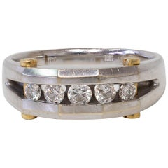 14K White Gold Men's Ring / Wedding Band with Diamonds & 18K Yellow Gold Details